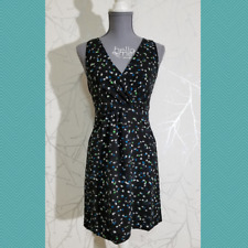 J. Crew Black Sleeveless Wrap Front A-Line Dress w/ Painted Dots   Women's 00