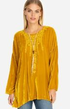 NWT JOHNNY WAS ANTONELLA EMBROIDERED VELVET PEASANT BLOUSE TOP GOLDEN ROAD SZ L