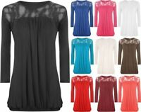 New Ladies Lace Round Neck Evening Top Womens Pleated 3/4 Sleeve Plus Size 12-26