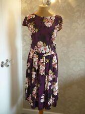 Dorothy Perkins Vestido estampado morado tamaño 14 de alto-Bnwt