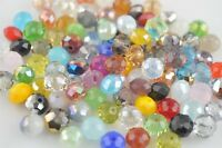 Wholesale Mixed 100PS Faceted Glass Loose Beads Spacer Rondelle Finding 6x4mm