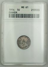 1914 Canada Five Cents 5c Silver Coin ANACS MS-61 Toned