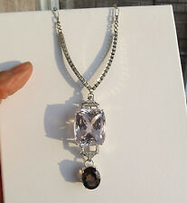 Estate 77 ct Kunzite Tourmaline platinum Diamond drop &14k white gold Necklace