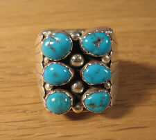 Size 10 Ring Navajo Blue Turquoise .925 Sterling Silver USA Made Signed GS 10.5
