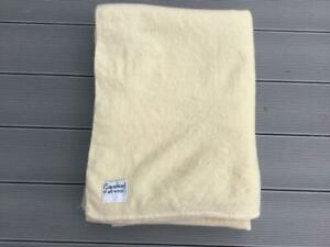 """Vintage Guaranteed All Wool Double Blanket 69"""" X 86"""" Cream Made in England"""