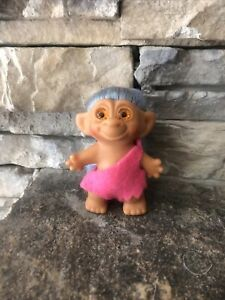 """Vintage Unmarked Troll Doll! Pliable 3"""" Rooted Blue Hair Orange Spiral Eyes!"""