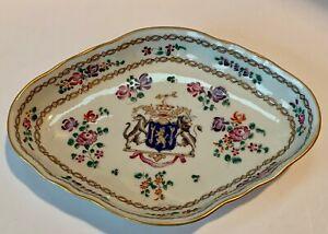 Antique Edme Samson Armorial Lion Diamond Dish Polychrome 19th Century