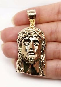 Mens 10K Solid Yellow Gold Jesus Christ Head Face Pendant 6.7 Grams 2.16""