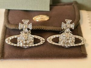 Vivienne Westwood silver tone Mayfair Bas Relief Crystal Earrings New with Box