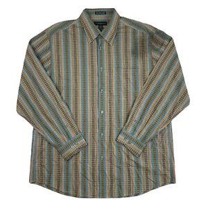 Jhane Barnes Men Long Sleeve Button Up Shirt Multi Color Designer Geometric XL