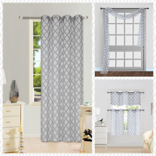 1 PANEL GROMMET PRINTED VOILE SHEER WINDOW CURTAIN TREATMENT WHITE / GREY