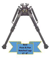 "TipTop® Rifle Bipod Notched Legs EZ Pivot &PAN + Quickest Swivel Mount 6 - 9"""