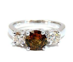 2.30ct Natural Fancy Color Sapphire Diamonds Ring 14 Karat Classic Three