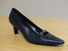 Salvatore Ferragamo 98826 Gold Bit Slip Navy Blue Dress Pumps Heels, Size 8.5 2A
