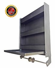 Plattinum, Oil Storage Rack Cabinet w/Fold Down Tray Paper Towel Holder