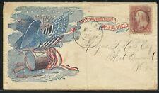 "CIVIL WAR PATRIOTIC COVER ""FLAG, DRUM, CANNON & EAGLE"" BRATTLEBORO, VT BU2335"
