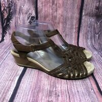 Earth Azalea  Women's Brown Leather Ankle Strap Strappy Wedge Sandals Size 10