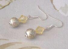 Elegant Lemon Foil Crystal Bicone Beads Dangle Pierced Earrings Handmade