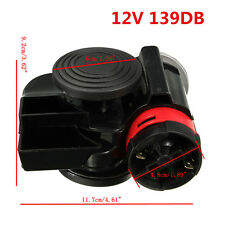 12V Super Loud 139db Black Snail Compact Dual Air Horn for Auto Car Motorcycle
