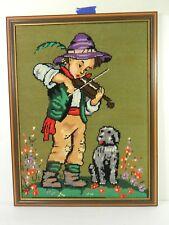 Needlepoint Cross Stitch Framed Hummel Style Vintage Boy With Fiddle & Dog