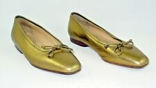 Bruno Magli 5.5 B Gold Leather Ballet Flats Italy Haute Hipster Geek Chic Audry