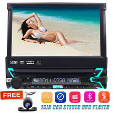 1Din GPS Bluetooth Car Stereo DVD Player 7 Inch Digital Screen Radio+Free Camera