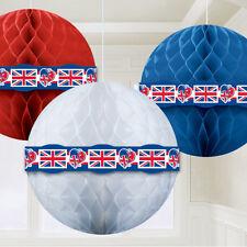3x Gran Bretaña Panal Bolas Decoración para colgar Union Jack GB Fiesta