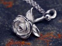 Silberkette mit Anhänger Rose Halskette Damen 925 Silber Kette Schmuck Sterling