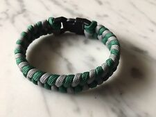 550 Paracord Bracelet FishTail Old Eagles green and gray with Plastic Buckle.