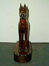 """9"""" Cute Hand Carved Wooden Great Dane Dog Figure Statue Tongue Hanging Out"""