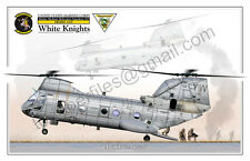 "Helicopter CH-46E ""Sea Knight"" HMM-165 White Knights - POSTER PROFILE -"