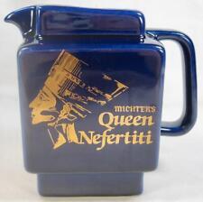Michters Queen Nefertiti Whiskey Pitcher Porcelain 24 K Gold Cobalt Vintage (O)
