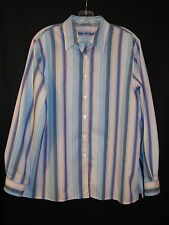 Like New Foxcroft Pink and Blue Stripes Wrinkle Free Long Sleeve Blouse Size 16