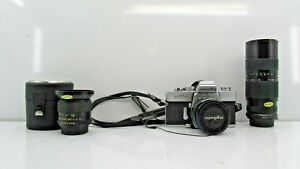Vintage Minolta SRT 102 35mm Camera SLR w/ 3 Lenses