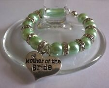 """Personalised """"Mother of Bride"""" Wine Glass Charm, Handmade with Rondelle Diamante"""
