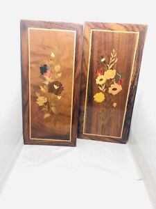 Wood Inlay Wall Plaques Pictures Vintage Flowers Home