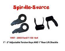 "97 - 03 Ford F-150 FRONT Torsion Keys Lifting Leveling +  1"" REAR Lift Shackles"