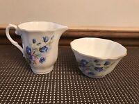 Royal Grafton ~ England ~  Blue Floral ~ Creamer & Open Sugar Bowl