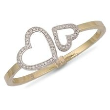 9ct yellow gold hinged and cubic zirconia set light weight heart bangle.