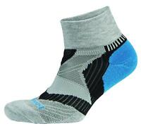 Balega Unisex Enduro V-Tech Quarter Exercise Running Socks, Grey/Turquoise/Black