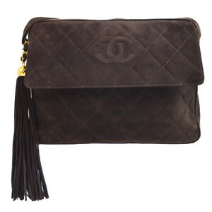 CHANEL Quilted Fringe CC Shoulder Bag 3470470 Purse Brown Suede Authentic 60340