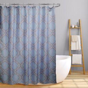 """Lexi Aqua Lilac Grey Geometric Medallion Fabric Shower Bath Curtain 70"""" x 70"""""""