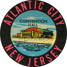 #k154 (1) Vintage Atlantic City Decal Sticker Luggage Label Laminated Convention