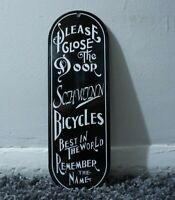 VINTAGE SCHWINN BICYCLES PORCELAIN SIGN GASOLINE METAL GAS OIL RARE PUMP PLATE