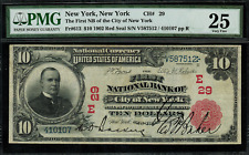 1902 $10 National - New York, NY - Red Seal - FR.613 Charter 29 - PMG 25