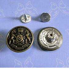 10 NO-SEW Large Metal Antique Brass Tack Jean Jacket Button 20mm Black Sz L G194