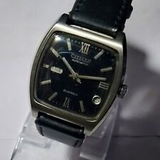 USED CITIZEN AUTOMATIC D/D BLACK DIAL LEATHER BAND  GOOD CONDITION