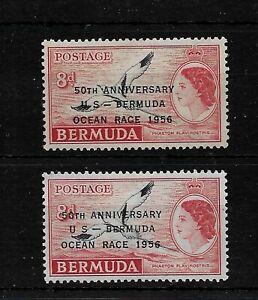 Bermuda, 1956 QEII Ocean Race Anniversary optd, 8d hyphen varieties LMM (B211)