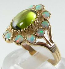 LARGE 9K 9CT GOLD PERIDOT & OPAL VICTORIAN INS CLUSTER RING FREE SIZ
