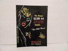Club 82 program 1960 NYC.  LGBT gay interest vintage Drag, Trans. THE 1960 REVUE